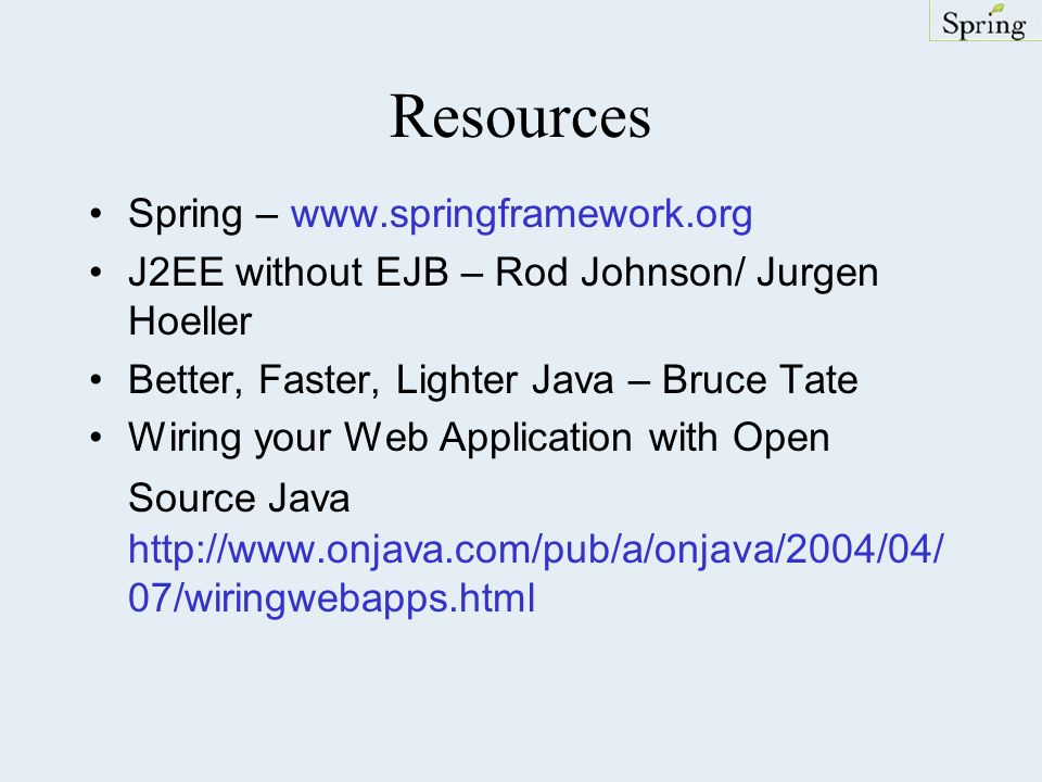 Resources Spring – www.springframework.org