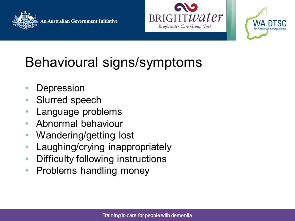 Behavioural signs/symptoms