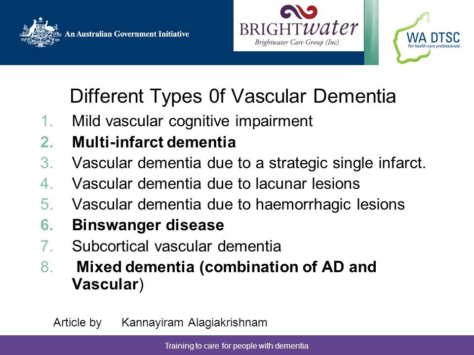 Different Types 0f Vascular Dementia