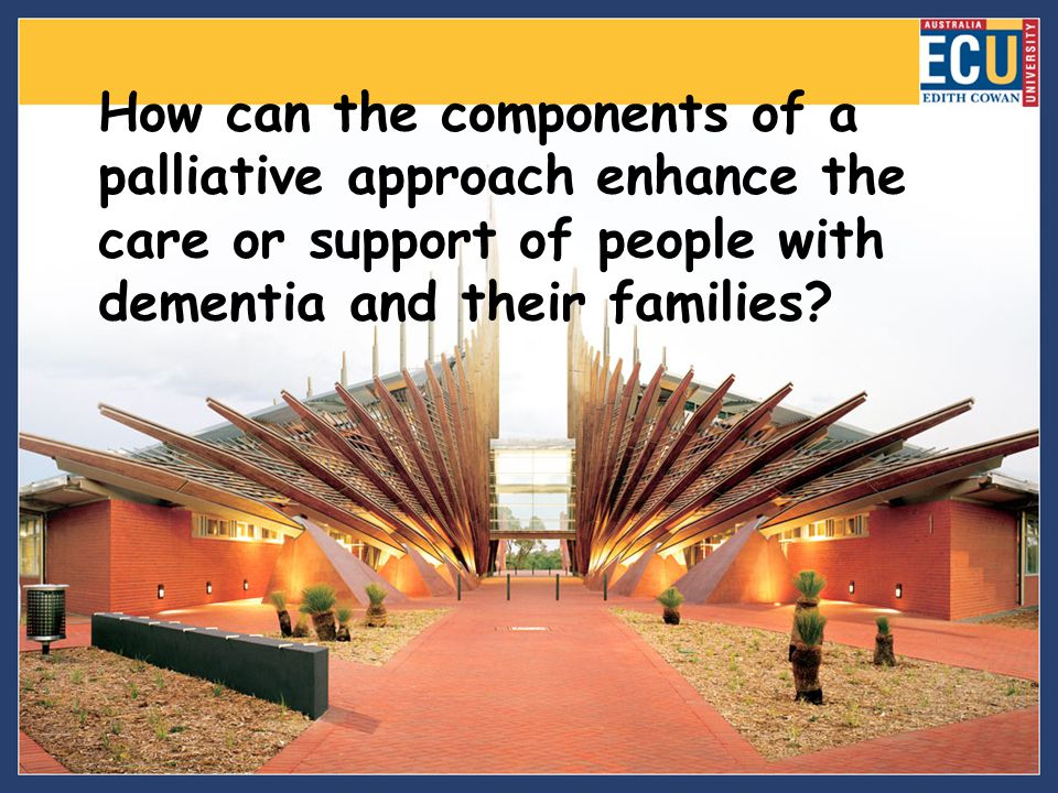 How can the components of a palliative approach enhance the care or support of people with dementia and their families