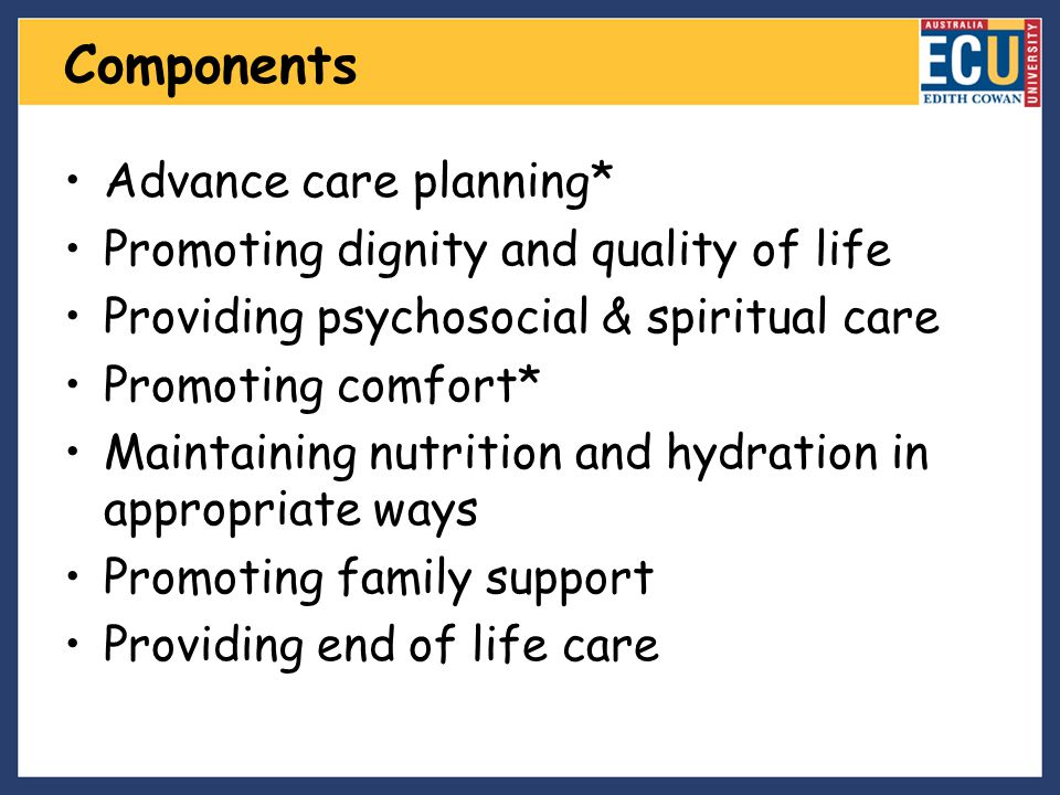Components Advance care planning*