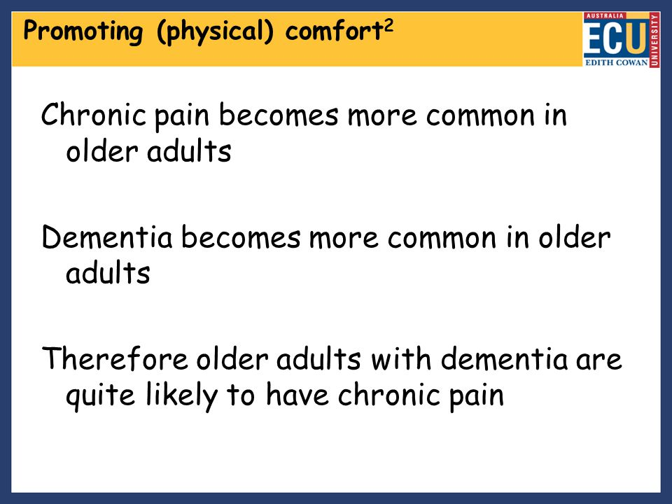 Chronic pain becomes more common in older adults