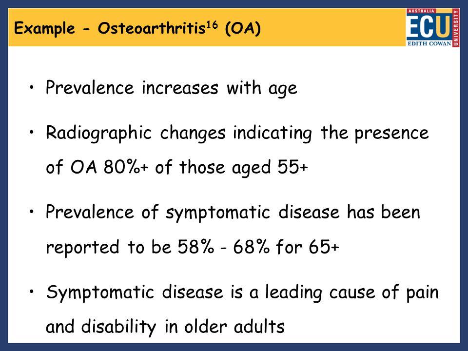 Example - Osteoarthritis16 (OA)