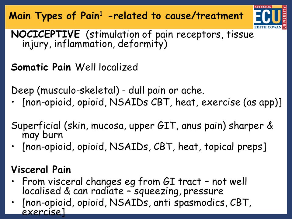 Main Types of Pain1 -related to cause/treatment