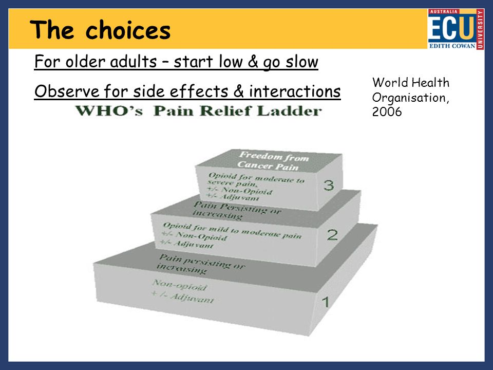 The choices For older adults – start low & go slow