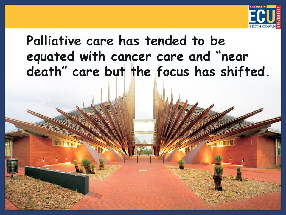 Palliative care has tended to be equated with cancer care and near death care but the focus has shifted.