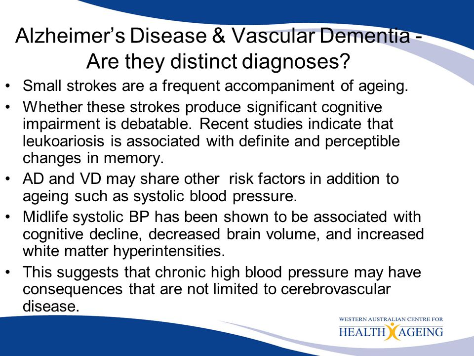 Alzheimer's Disease & Vascular Dementia - Are they distinct diagnoses