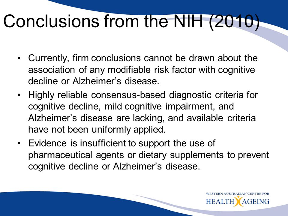 Conclusions from the NIH (2010)