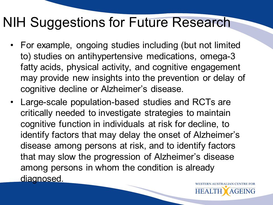 NIH Suggestions for Future Research