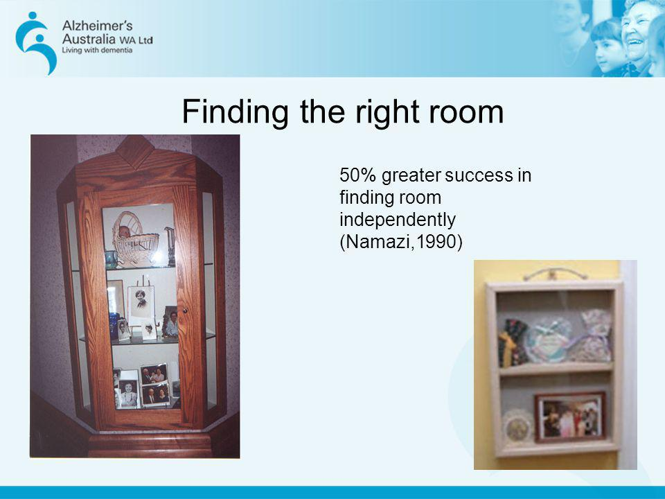 Finding the right room 50% greater success in finding room independently (Namazi,1990)