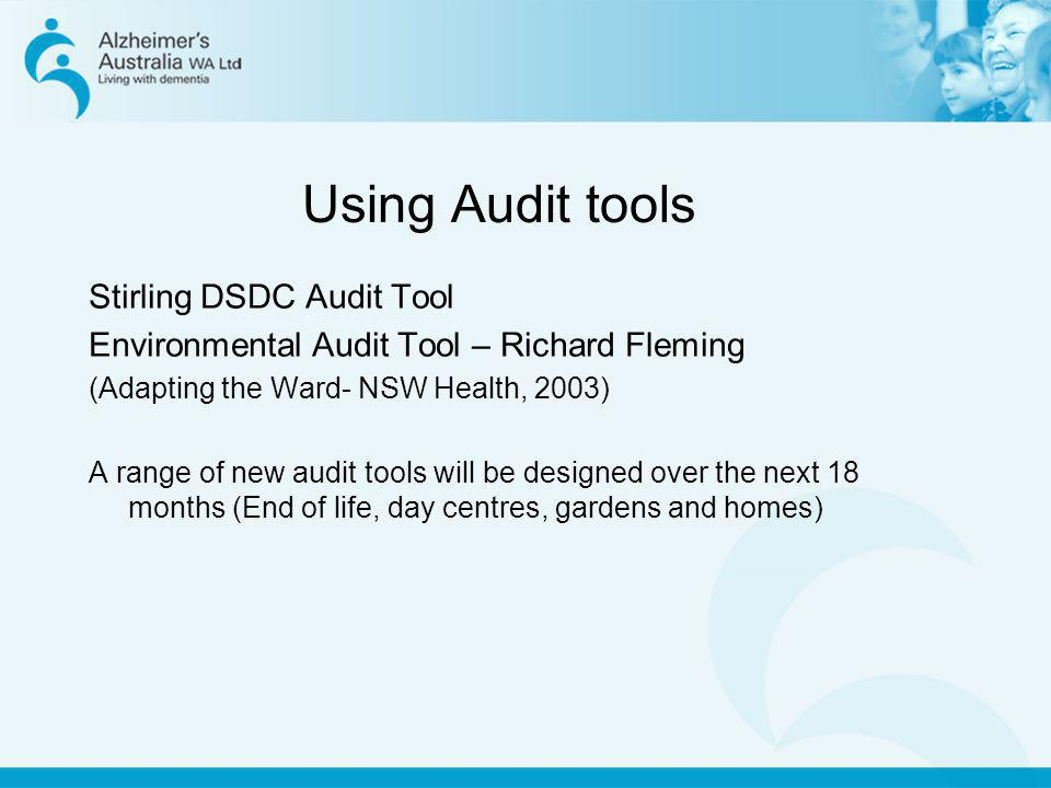 Using Audit tools Stirling DSDC Audit Tool