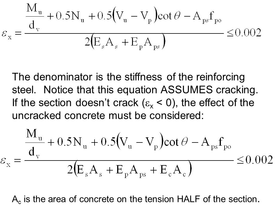 The denominator is the stiffness of the reinforcing steel