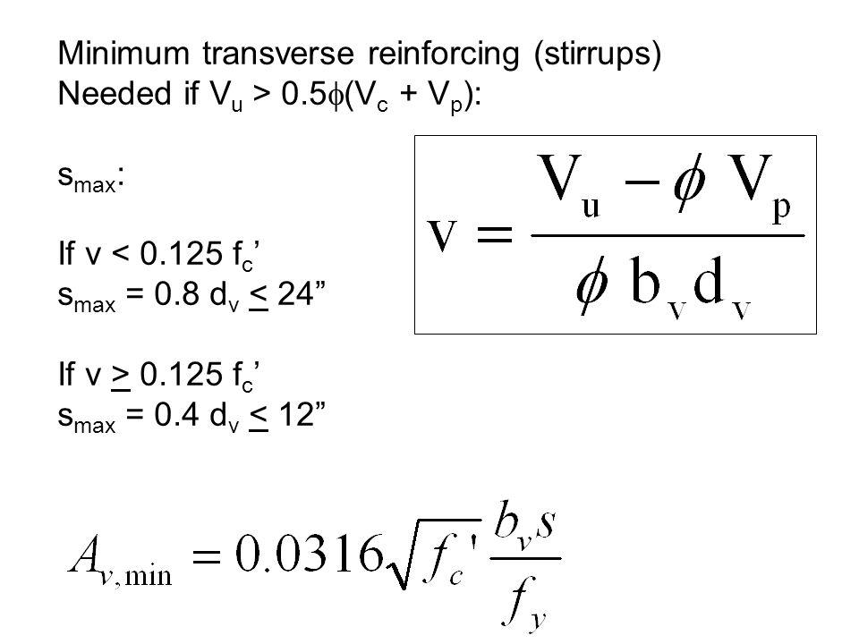 Minimum transverse reinforcing (stirrups)