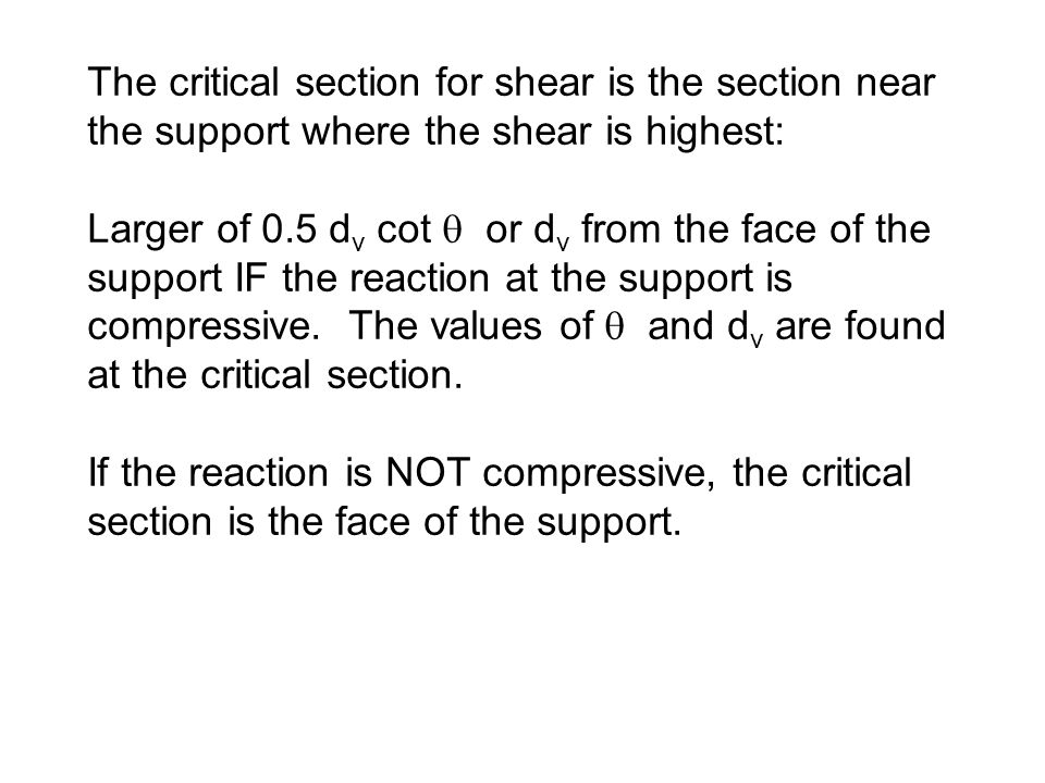 The critical section for shear is the section near the support where the shear is highest:
