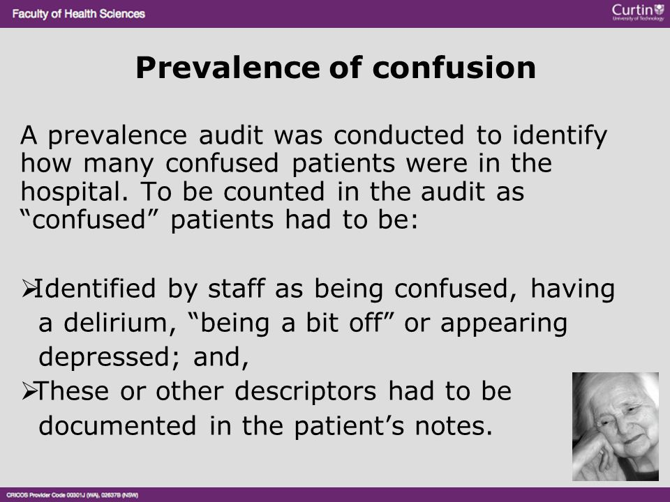 Prevalence of confusion