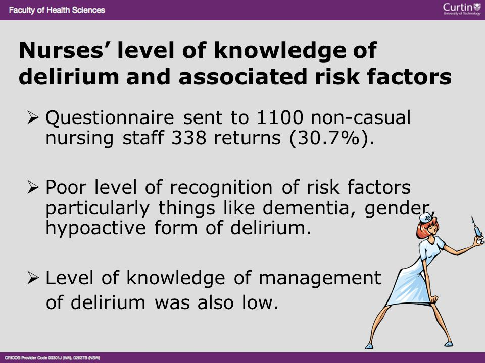 Nurses' level of knowledge of delirium and associated risk factors