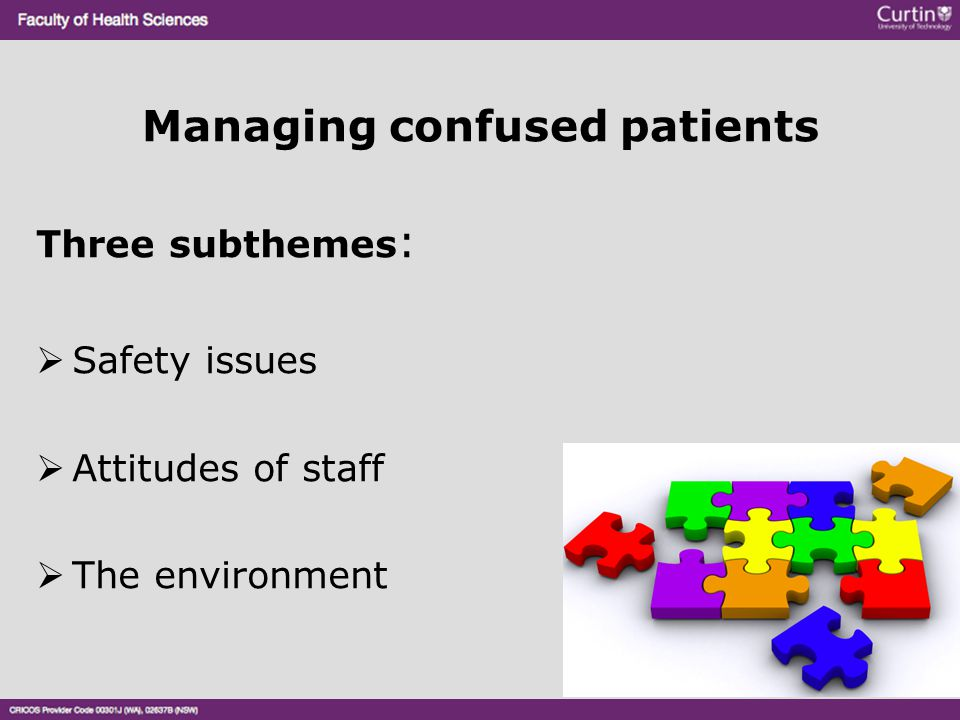 Managing confused patients