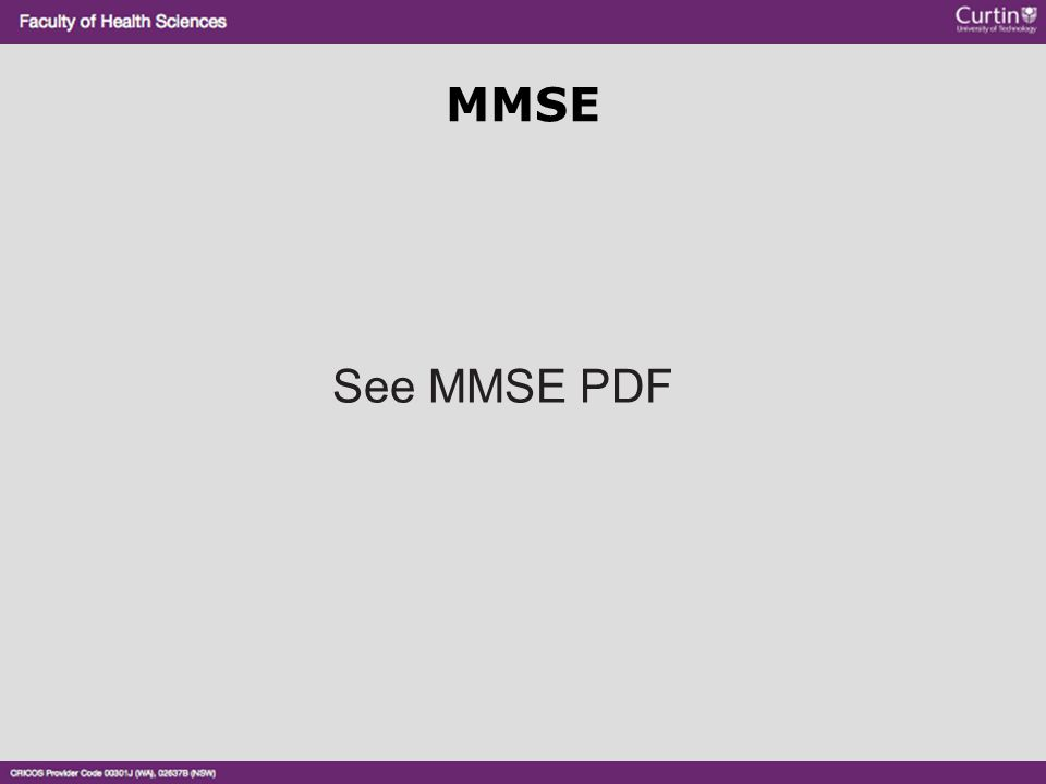 MMSE See MMSE PDF