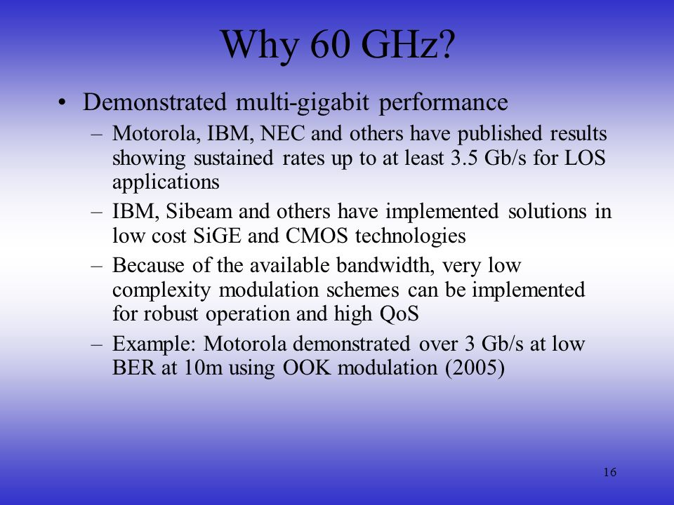 Why 60 GHz Demonstrated multi-gigabit performance