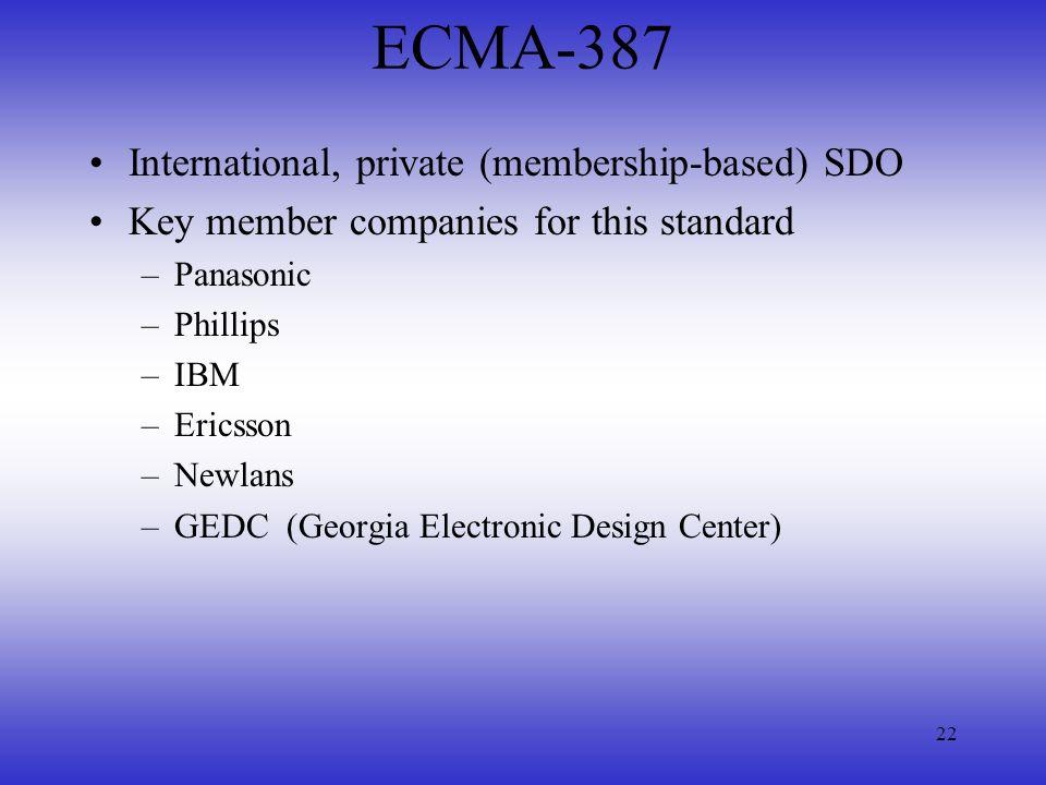 ECMA-387 International, private (membership-based) SDO