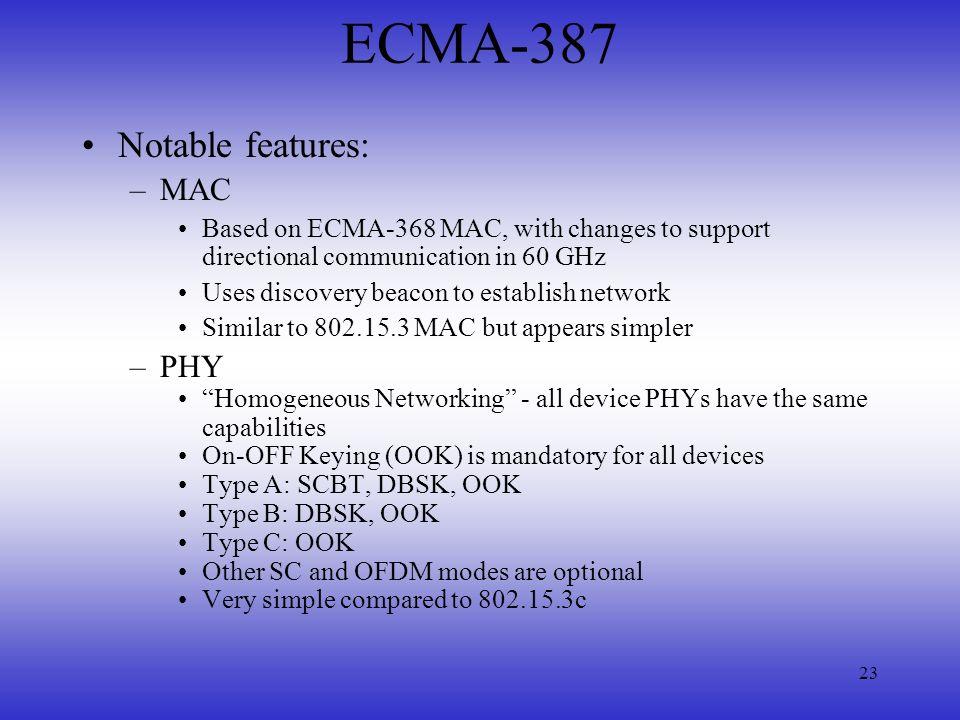 ECMA-387 Notable features: MAC PHY