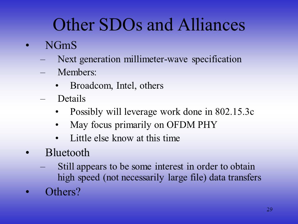Other SDOs and Alliances