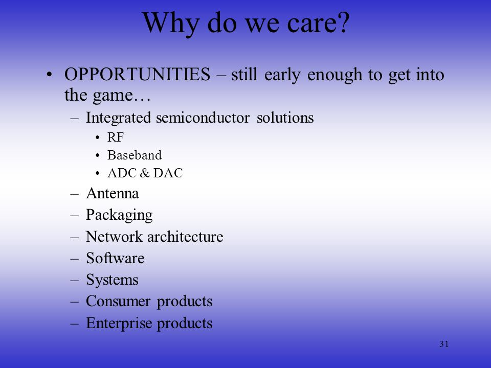 Why do we care OPPORTUNITIES – still early enough to get into the game… Integrated semiconductor solutions.