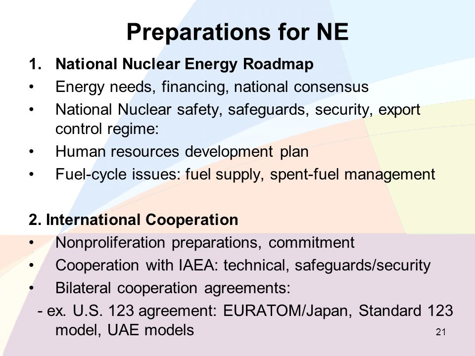 Preparations for NE National Nuclear Energy Roadmap