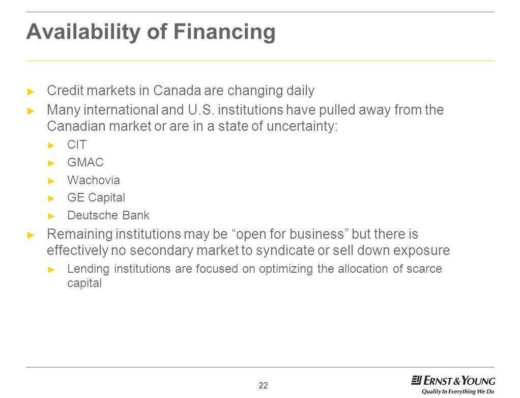 Availability of Financing