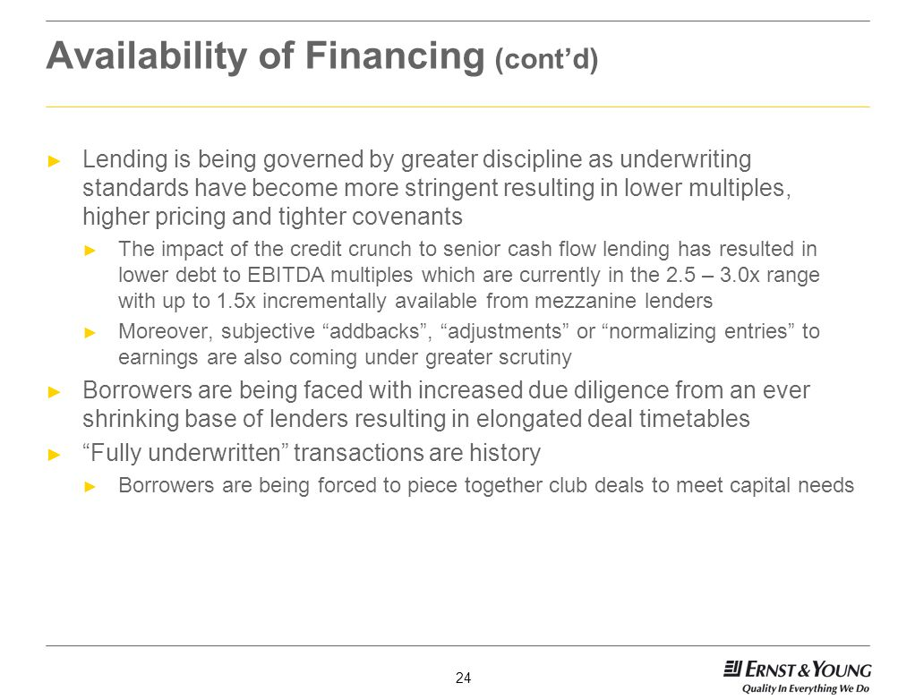 Availability of Financing (cont'd)
