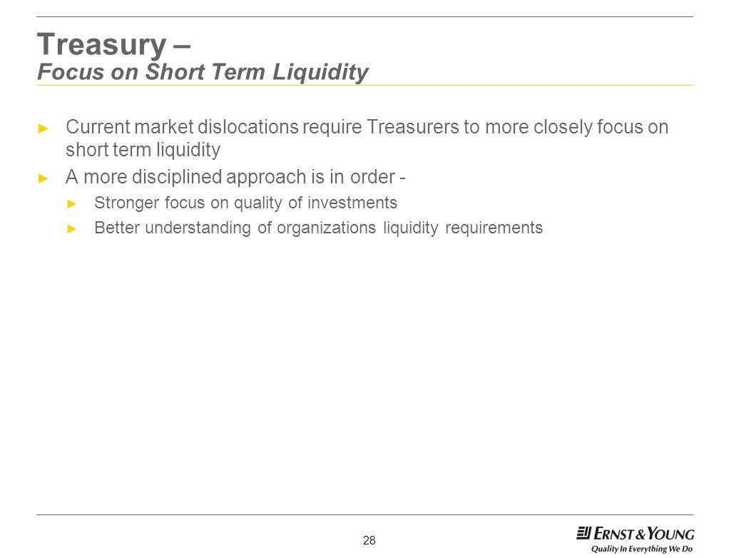 Treasury – Focus on Short Term Liquidity