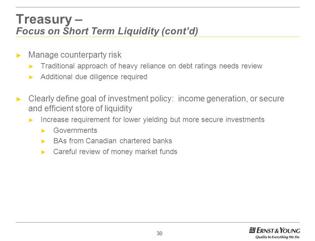 Treasury – Focus on Short Term Liquidity (cont'd)