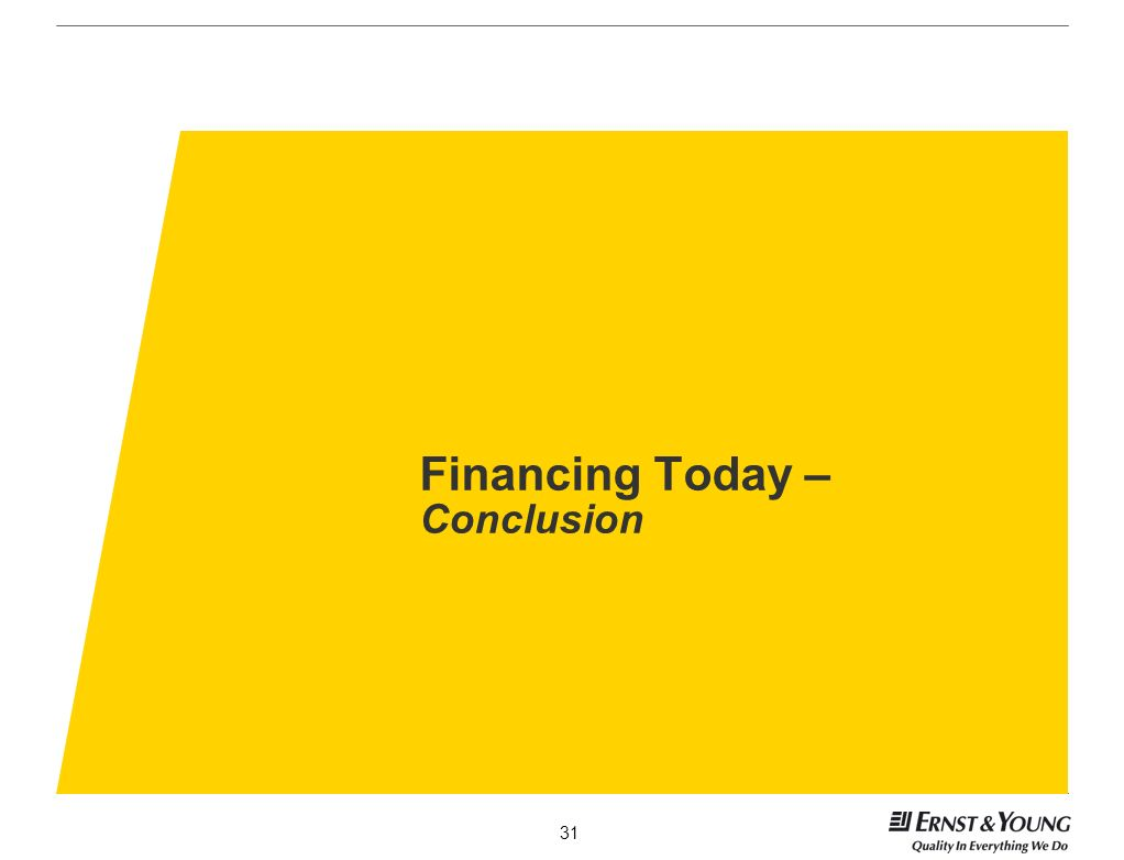 Financing Today – Conclusion