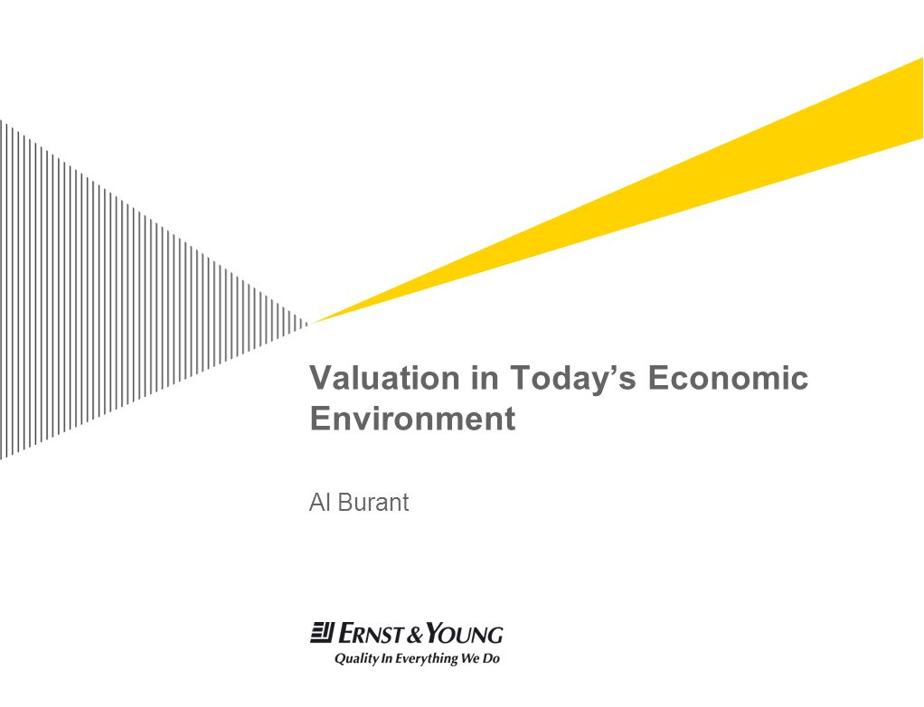 Valuation in Today's Economic Environment Al Burant