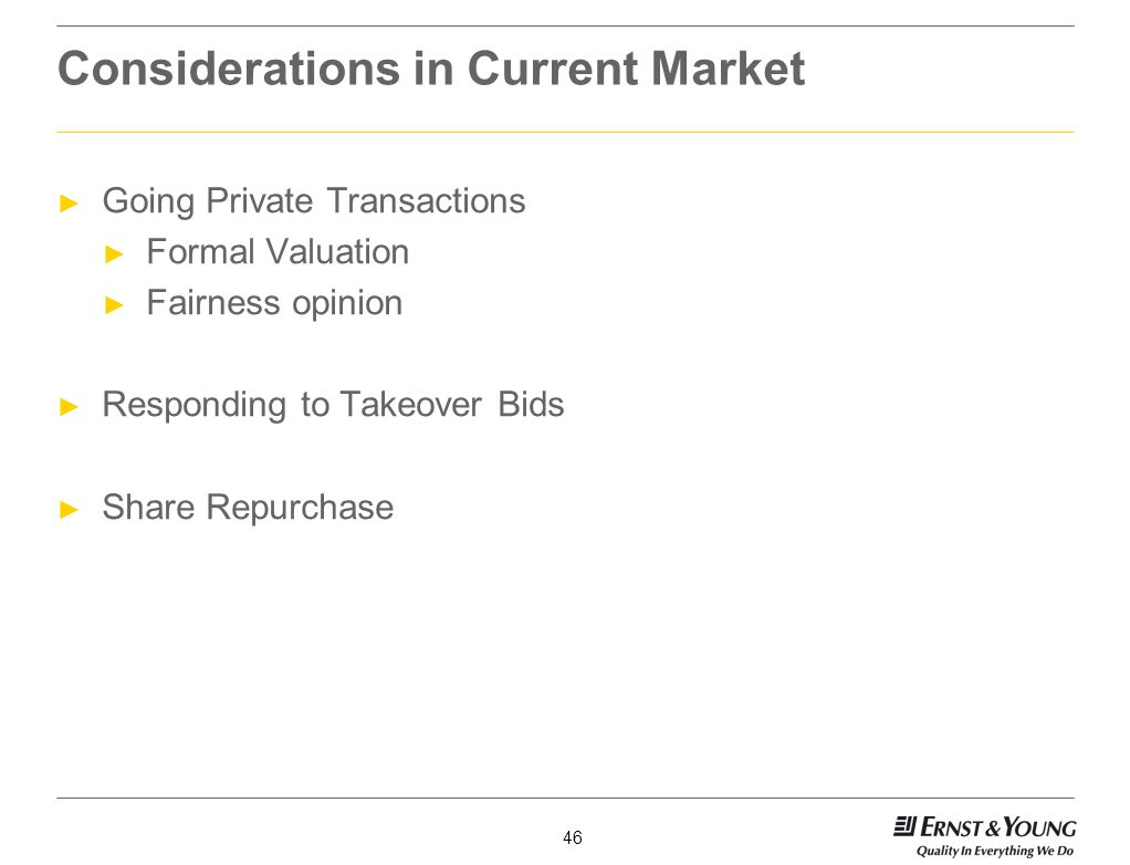 Considerations in Current Market