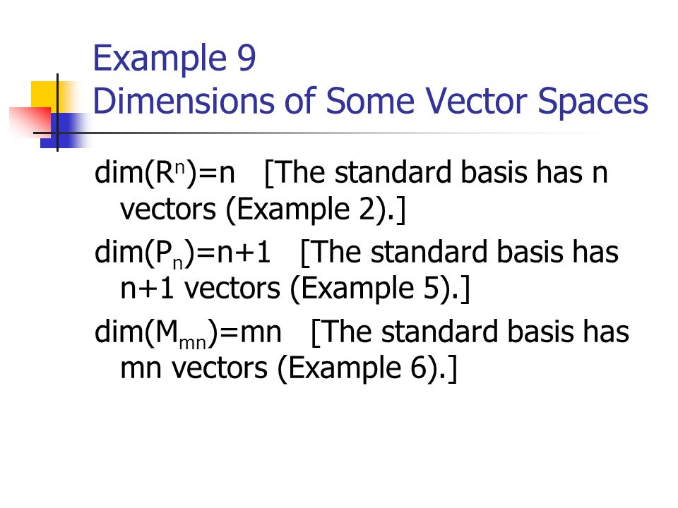 Example 9 Dimensions of Some Vector Spaces