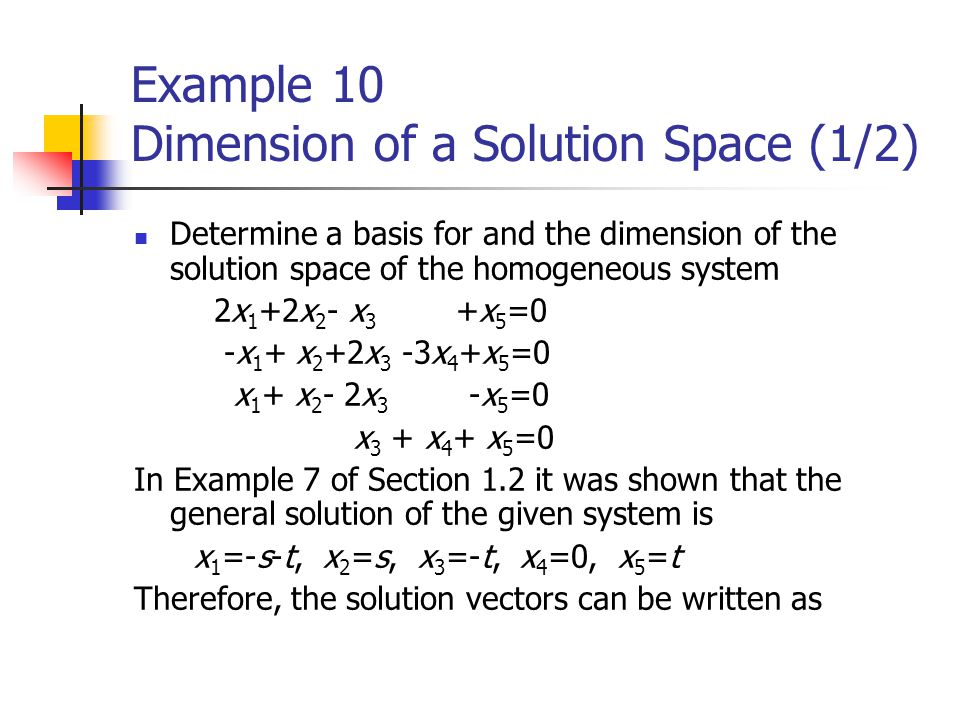 Example 10 Dimension of a Solution Space (1/2)