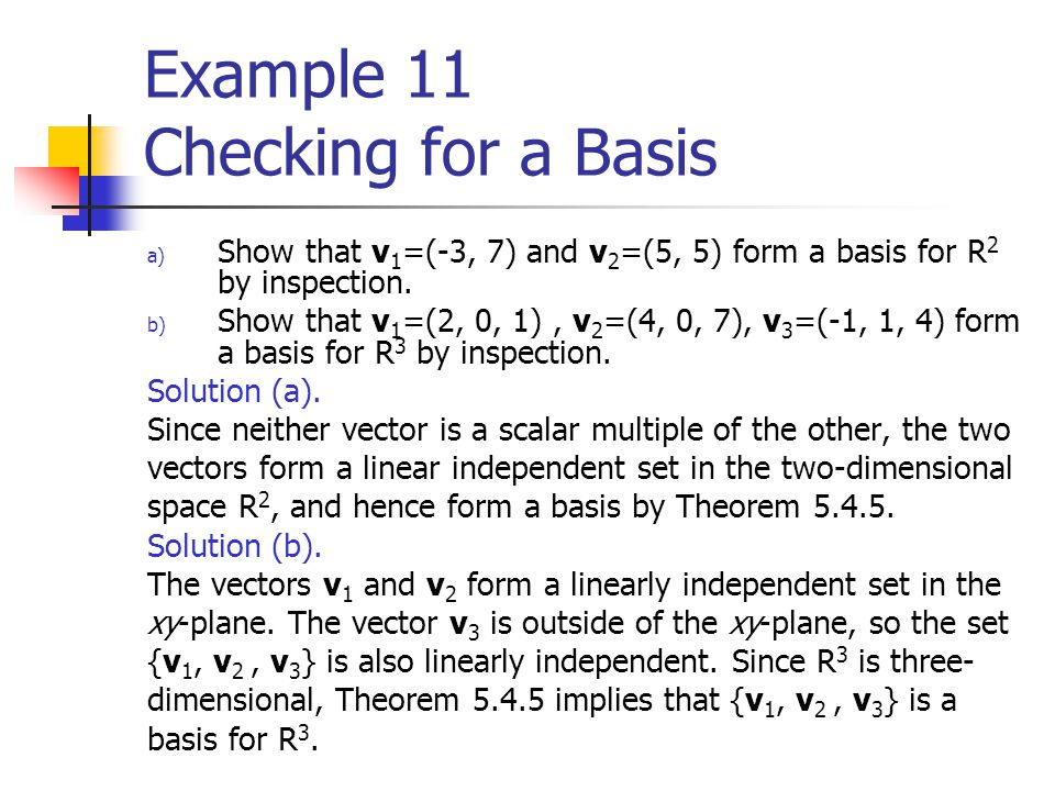 Example 11 Checking for a Basis