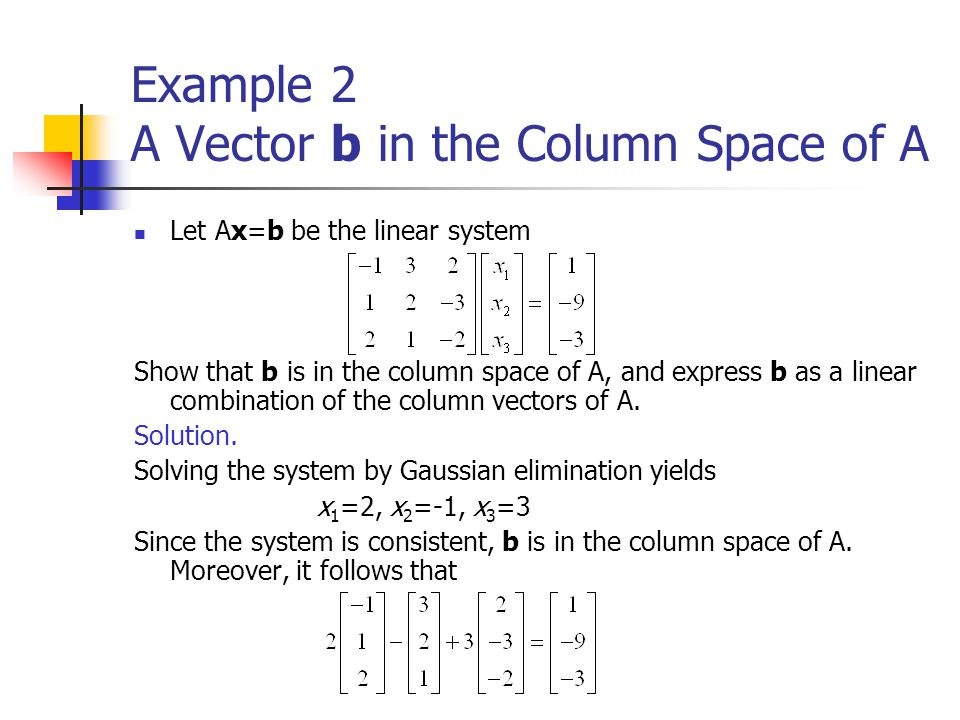 Example 2 A Vector b in the Column Space of A