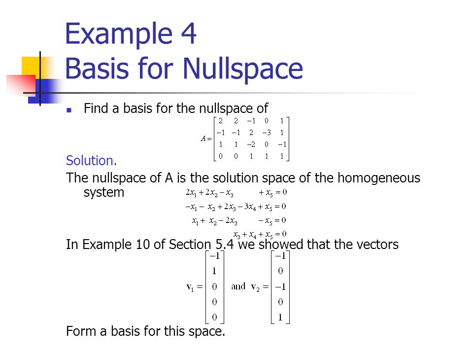 Example 4 Basis for Nullspace