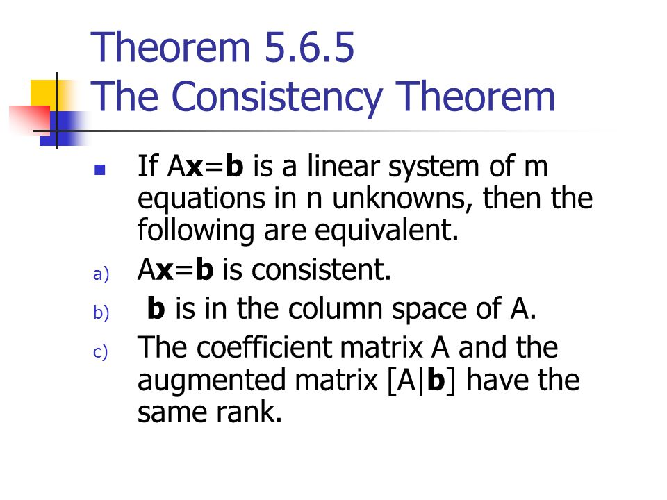 Theorem 5.6.5 The Consistency Theorem