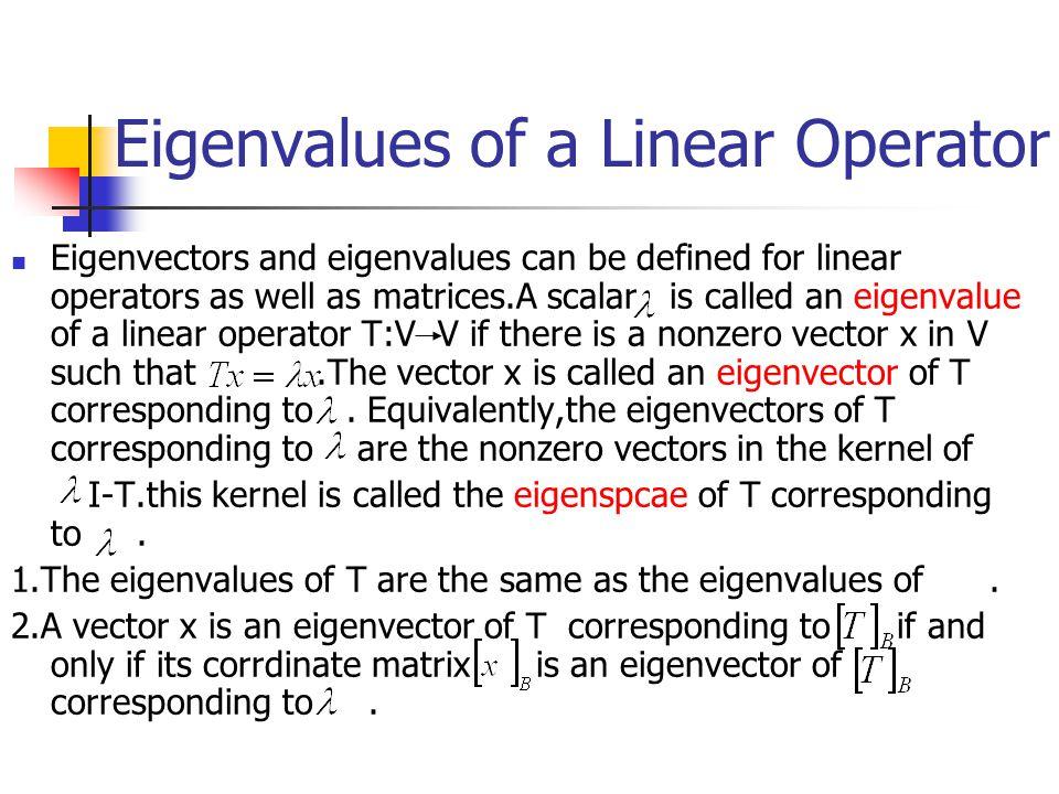 Eigenvalues of a Linear Operator