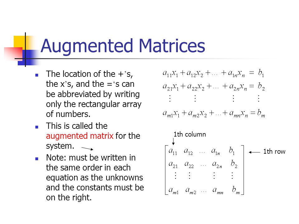 Write a system of equations for the augmented matrix matlab