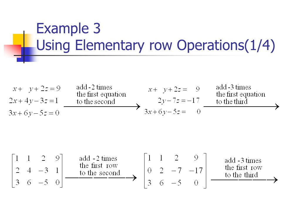 Example 3 Using Elementary row Operations(1/4)