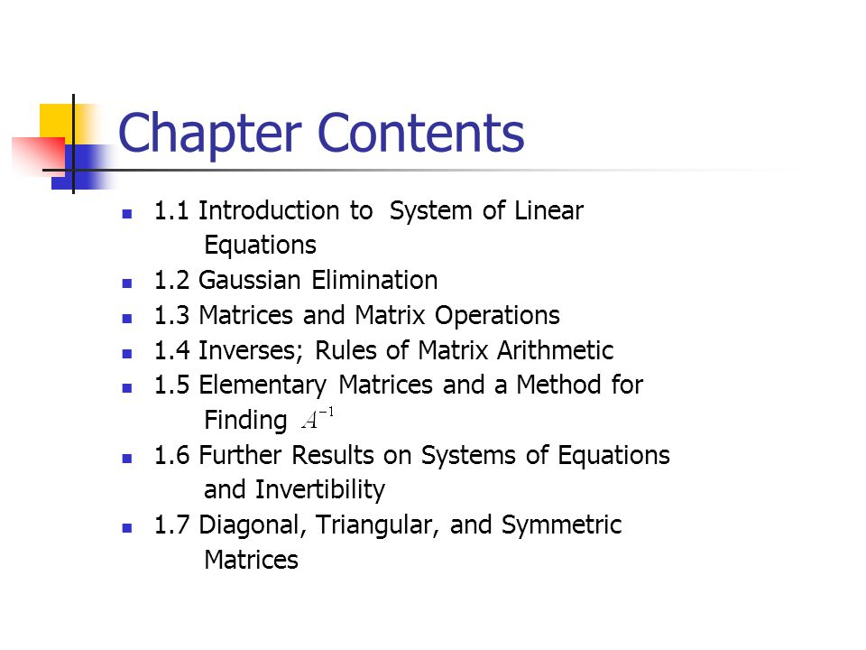 Chapter Contents 1.1 Introduction to System of Linear Equations