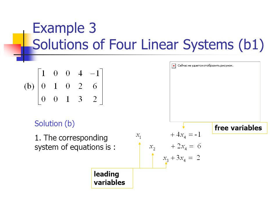 Example 3 Solutions of Four Linear Systems (b1)
