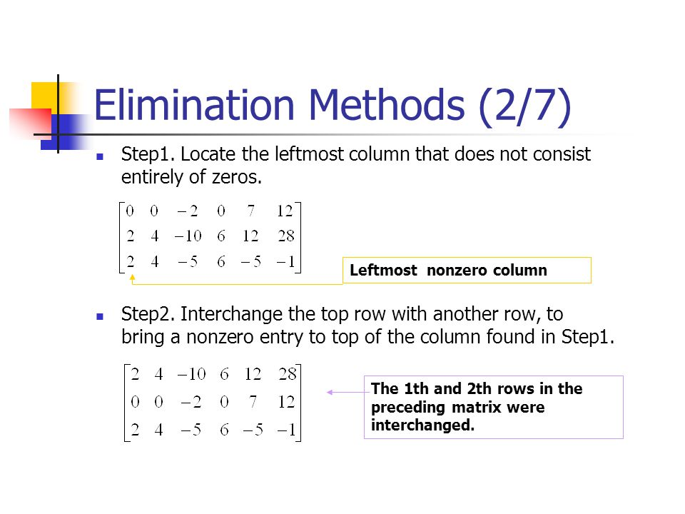 Elimination Methods (2/7)