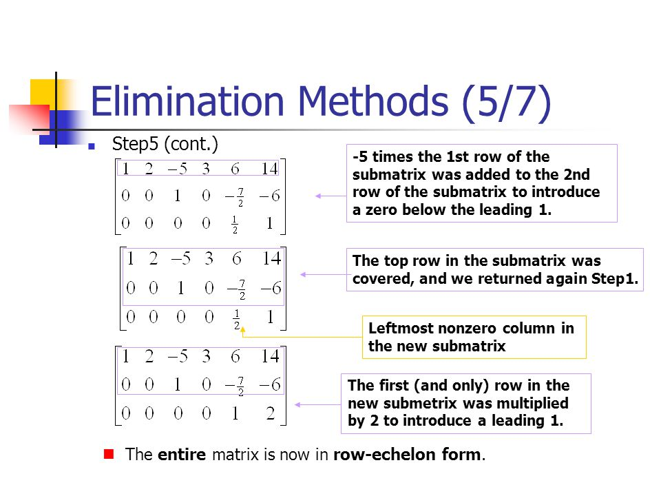 Elimination Methods (5/7)