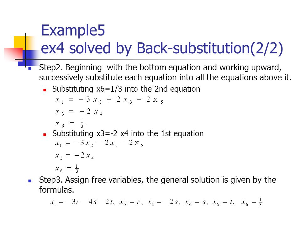 Example5 ex4 solved by Back-substitution(2/2)