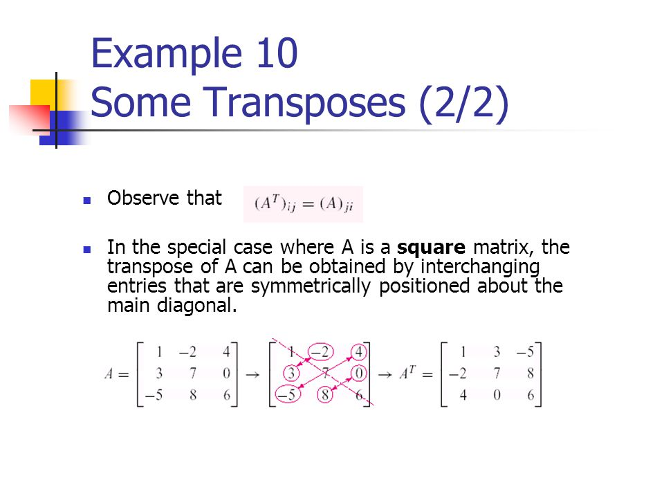 Example 10 Some Transposes (2/2)